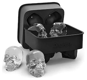 Global 3D Skull Flexible Silicone Ice Cube Mold Tray, Makes Four Giant Skulls, Round Ice Cube Maker, Black- Pack of 2