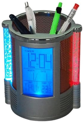 Global   Round Shape Pen Holder with Digital LCD Alarm Clock & Colour Changing Bubble LED Lights