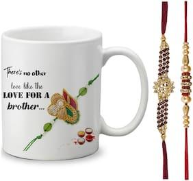 Globex Lords of Fashion Exclusive Rakshabandhan Special Gift For Brothers Printed Mug 325ml with Rakhi and Rakhi Thread