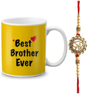 Globex Lords of Fashion Exculsive Rakshabandhan Special Gift For Brothers Printed Mug 325ml with Rakhi and Rakhi Thread