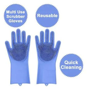 Gloves Silicone Gloves with Wash Scrubber Non-Slip for Household Cleaning Great for Protecting Hands in Dishwashing , Car Washing , Pet Grooming , Kitchen , Bathroom