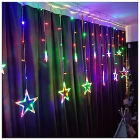 GLOWTRONIX 12 Stars 138 LED Curtain String Lights Fairy Lights with 8 Modes for Wedding Garden Patio Lawn Window Celebration Decoration