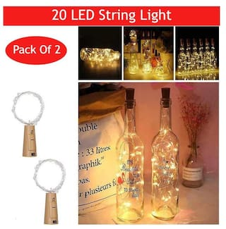 GLOWTRONIX 20 LED Wine Bottle Cork Copper Wire String Lights;2M Battery Operated (Warm White;2 Unit)