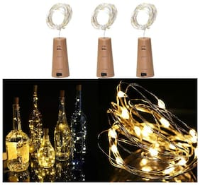 Glowtronix 3 Pack Wine Bottle Lights;Warm White Cork Lights String Lamp By Operated;For Christmas Party;Party And Wedding