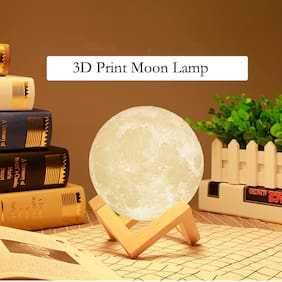 GLOWTRONIX Diwali moon light 15CM Rechargeable 3D Print with 7 Color Change Adjustable Touch Switch war white [Set of 1]
