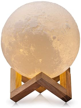 Diwali moon light 10cm Battery Operated Moon Light 3D Crystal Ball Night Light for home decoration [Set of 1]