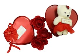 Glowtronix Artificial Heart-Shaped Box And Teddy And Roses (Multicolour;1 Small Cute Teddy;3 Fragrant Rose Bud Petal Soap;1 Heart Shape Tin Box)