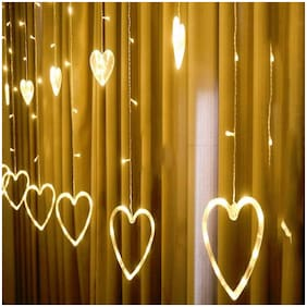 GLOWTRONIX Curtain String Lights 138 Mini Led Heart-Shaped LED Window Curtain Fairy Lights USB Powered Warm White 8 Flashing Modes Lights String Decoration Lights Net for Home Party Decor