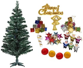 Glowtronix Christmas 3 ft Xmas Tree with Plastic Stand and 50 Decoration Ornaments