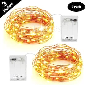 Glowtronix Diwali Battery Operated Sliver String Fairy Light Waterproof 3m 30 LED Decorative String Fairy Lights Warm White [Pack of 2]