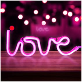 GLOWTRONIX Neon Pink Love Signs;LED Neon Signs for Wall Decor;Led Safety Art Wall Decoration Lights Neon Lights Night Table Lamp with Battery Powered/USB