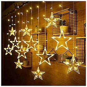 GLOWTRONIX  Star LED String Fairy Light Curtain Icicle Lamp Wedding Christmas Xmas Party Garden Window Decor -Yellow