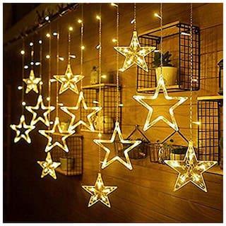 GLOWTRONIX  Star LED String Fairy Light Curtain Icicle Lamp Wedding Christmas Xmas Party Garden Window Decor -Yellow