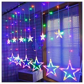 GLOWTRONIX Star String Lights;Curtain String Lights for Home Decoration - Multi Color- Steady