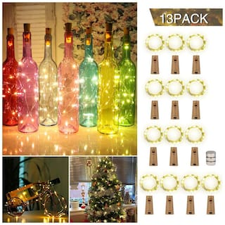 Glowtronix Wine Bottle With Cork  Lights Copper 20 Led For Diy Party Table Christmas Halloween Wedding Decoration (Set Of 13)
