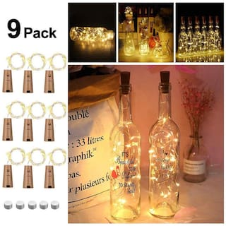 Glowtronix Wine Bottle With Cork  Lights Copper 20 Led For Diy Party Table Christmas Halloween Wedding Decoration (Set Of 9)