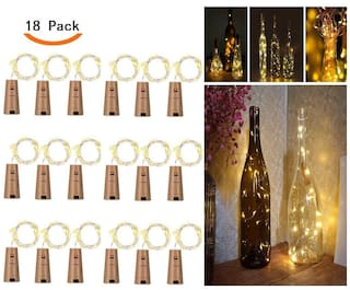 Glowtronix Wine Bottle With Cork  Lights Copper 20 Led For Diy Party Table Christmas Halloween Wedding Decoration (Set Of 18)