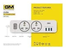 GM Three Pin White Extension Board ( 1.8 m , 2 Socket , 1 Switches)