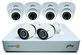 Godrej Security Solutions See Thru 4Mp 4 Channel 4 Dome 2 Bullet Cameras Without Hard Disk Hd Full Cctv Camera Kit (White) (4Mp8Ch4D2B)