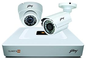 Godrej Security Solutions See Thru 720P 4 Channel 1 Dome 1 Bullet CCTV Kit (White)