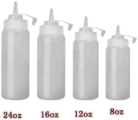 Godskitchen 8 Ounce (Set of 6) Clear  Squeeze Bottles  Plastic Squeeze Squirt Condiment Bottle with Twist On Cap Lid - top dispensers for ketchup mustard mayo hot sauces olive oil - bpa free bbq set