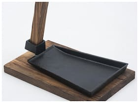 Godskitchen Cast Iron Sizzler Hot Serving Dish with a Wooden Handle & Wooden Stand / Sizzler Plate - 8 X5  INCH - Create that authentic feel  serve your dishes sizzling at the table!