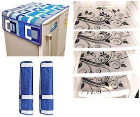 Goel Home Decor Combo Of Decorative Fridge Top;2 Handle Covers;4 Fridge Mats-Set Of 7