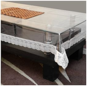 Goel Home Decor Pvc Table Cloth Transparent silver lace 40 inch X 60 inch
