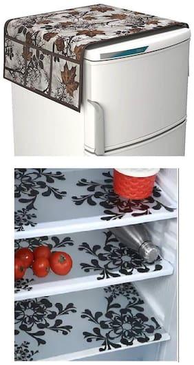 Goel Home Decor decorative quality combo of Fridge Cover and Fridge Mats-Set of 4