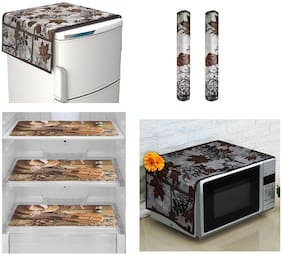 Goel Home Decor Decorative combo of 1 fridge top cover, 2 handle covers, 3 fridge mats and 1 pc oven cover-combo of 7 pieces