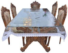 Goel Home Decor Transparent with White Lace 6-8 Seater Dining Table Cover