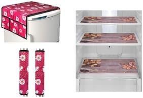 Goel Home Decor decorative fridge top handle cover and fridge mats-set of 6 pieces