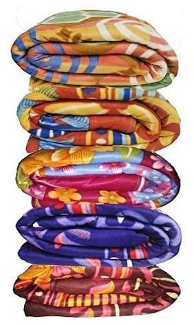 Goel Home Decor Printed Polar Fleece Single Bed Blanket Pack of 5 (Multi-Color)