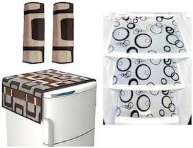 Goel Home Decor combo of exclusive fridge top;2 handle covers and 3 fridge mats-set of 6 pieces