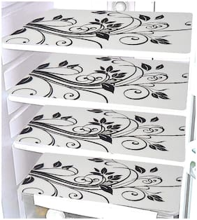 Goel Home Decor black and white PVC fridge/ drawer Mat-11.5 Inches*17.5 Inches-Set of 4 pieces