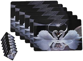 Goel Home Decor Love Collection Printed 6 Pcs Table Mats With 6 Pcs Coasters