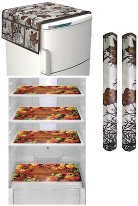 Goel Home Decor combo of decorative fridge top;2 handle covers and 4 mats-set of 7 pcs