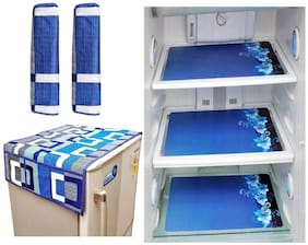 Goel Home Decor combo of exclusive fridge top;2 handle covers and 3 fridge mats-set of 6 pieces