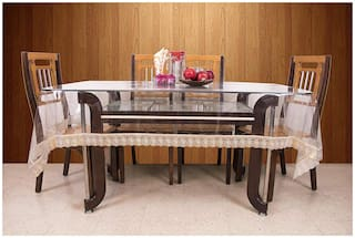 Goel Home Decor Transparent 6-8 Seater Dinning table cover with Golden lace- 60 inch * 90 inch