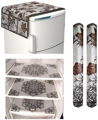 Goel Home Decor Premium Quality Fridge Top Cover, Fridge Handle Covers, Fridge Mats-Set of 6