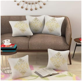 Goel Home Decor Printed Jute Beige Cushion Cover ( Regular , Pack of 5 )