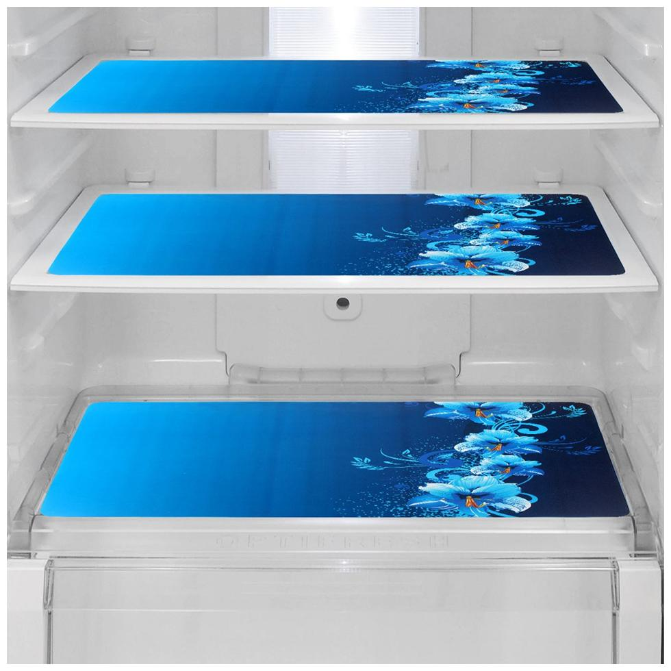 Goel HomeDecor Pack Of 3 Classic Blue flower Refrigerator/Fridge Drawer Mats, 11.5 inch * 17.5 inch