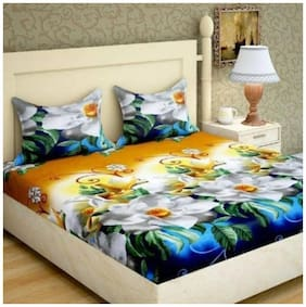 GOHOME Microfiber Floral Double Size Bedsheet 104 TC ( 1 Bedsheet With 2 Pillow Covers , Multi )