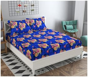 GOHOME Microfiber Floral Double Size Bedsheet 104 TC ( 1 Bedsheet With 2 Pillow Covers , Blue )