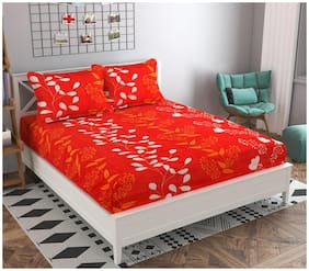 GOHOME Microfiber Floral Double Size Bedsheet 140 TC ( 1 Bedsheet With 2 Pillow Covers , Red )
