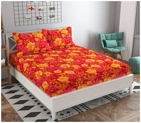 GOHOME Microfiber Floral Double Size Bedsheet 104 TC ( 1 Bedsheet With 2 Pillow Covers , Orange )