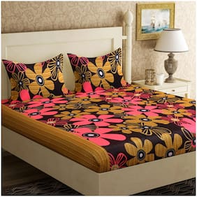 GOHOME Microfiber Floral Double Size Bedsheet 104 TC ( 1 Bedsheet With 2 Pillow Covers , Brown )