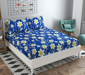 GOHOME Microfiber Floral Double Size Bedsheet 140 TC ( 1 Bedsheet With 2 Pillow Covers , Blue )