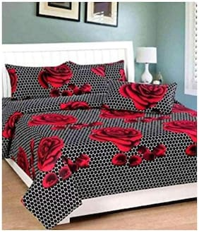 GOHOME Microfiber Floral Double Size Bedsheet 140 TC ( 1 Bedsheet With 2 Pillow Covers , Black )