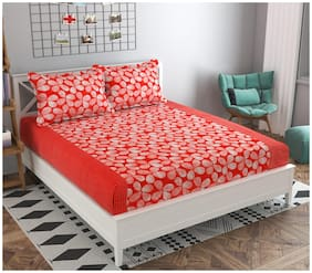 GOHOME Microfiber Floral Double Size Bedsheet 104 TC ( 1 Bedsheet With 2 Pillow Covers , Red )